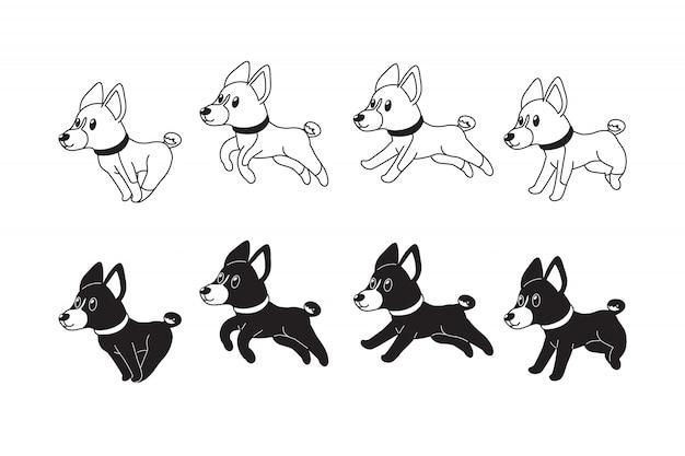 Cani di basenji personaggio dei cartoni animati in esecuzione passo