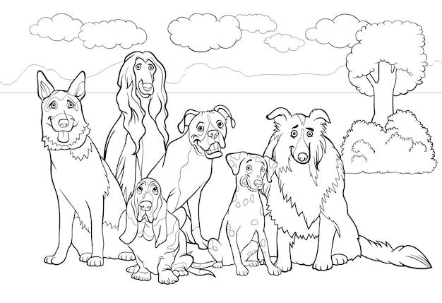 Cani di razza cartone animato per libro da colorare