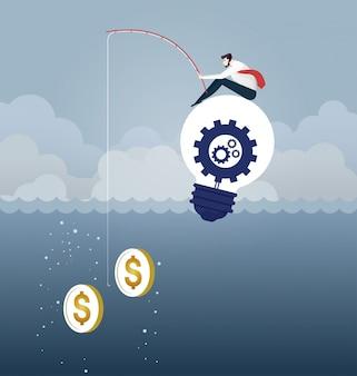 Canna da pesca di catching money with dell'uomo d'affari. concetto di affari