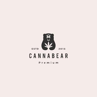 Cannabear cannabis bear logo hipster retro vintage