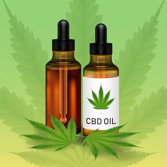 Cannabidiolo o olio di cbd con foglia di marijuanna