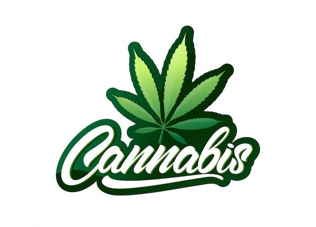 Cannabis in stile lettering con foglia