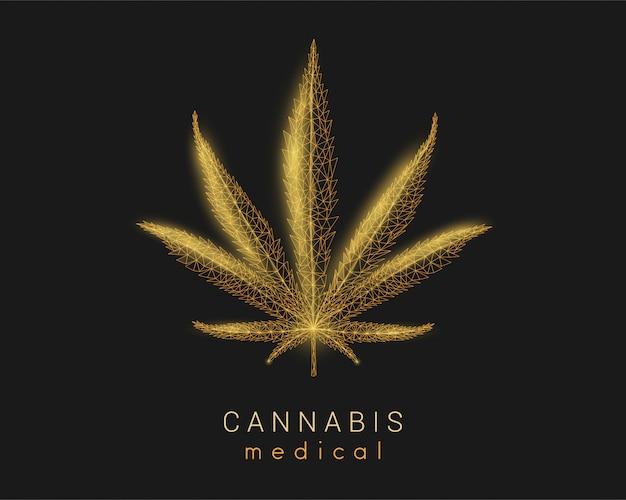 Cannabis medica. foglia di marijuana design in stile poli basso.