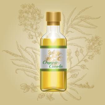 Canola biologica, olio di senape in bottiglia di vetro