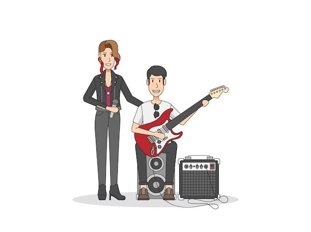 Cantante femminile e vibrazione del rock and roll del chitarrista