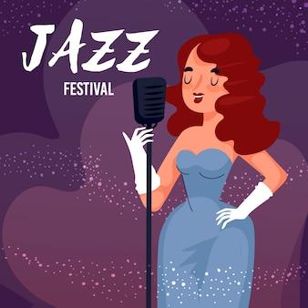 Cantante illustrato giornata internazionale del jazz