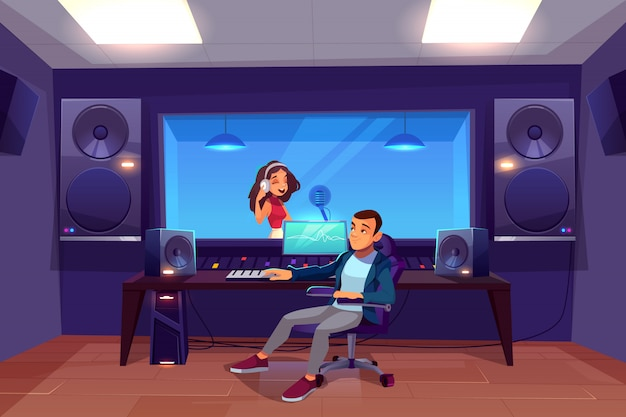 Cantante in studio di registrazione.