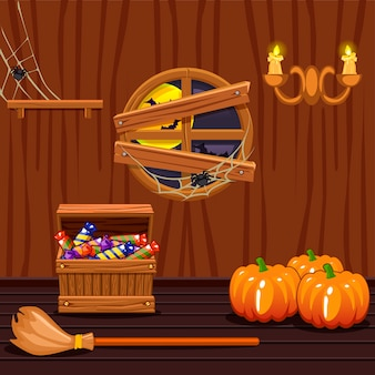 Cantina di casa in legno, simboli di halloween