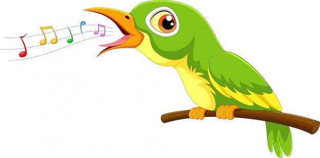 Canto sveglio del fumetto dell'uccello verde