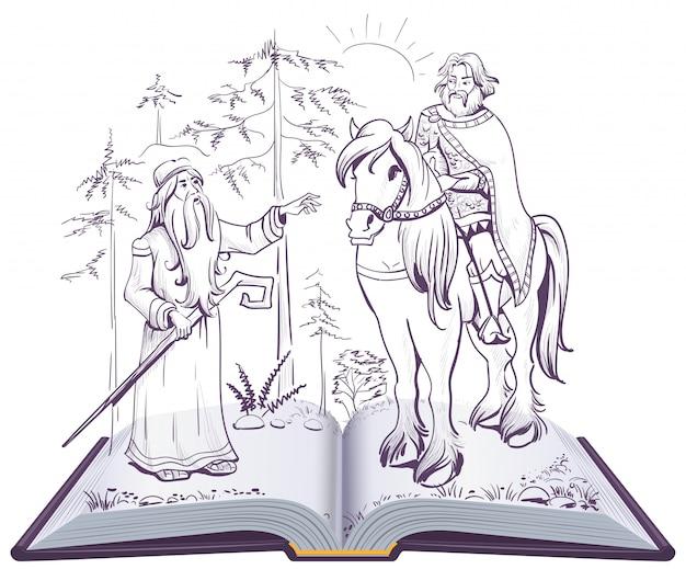 Canzone di fiaba di pushkin sull'illustrazione di libro aperto profetico di oleg