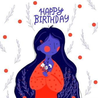 Capelli lunghi ragazza piatta buon compleanno
