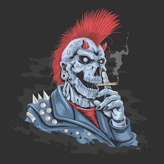 Capelli mohawk punk di skull