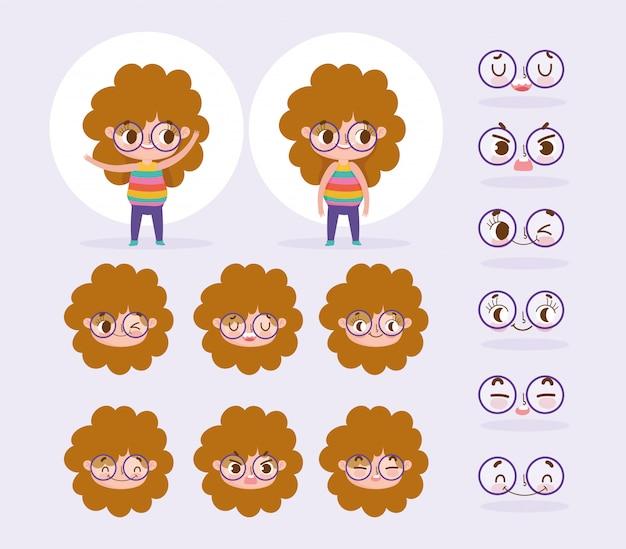 Capelli ricci della bambina di animazione del personaggio dei cartoni animati con le emozioni e i gesti del fronte del fumetto