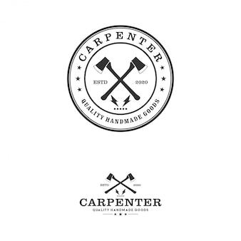 Capenter industry logo design - carpentiere aereo ascia lavorazione del legno officina tuttofare logo