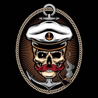 Capitano del cranio con l'illustrazione del tatuaggio dell'ancora