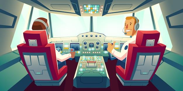 Capitano e copilota che si siedono nella cabina dell'aeroplano con l'illustrazione del fumetto del cruscotto della piattaforma di volo