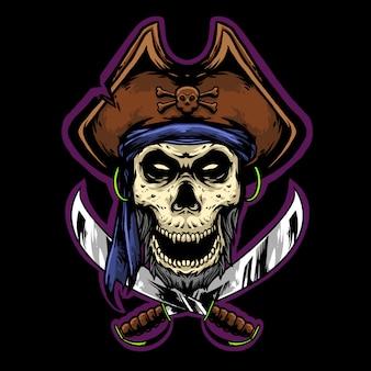 Capitano pirata teschio con lama logo mascotte