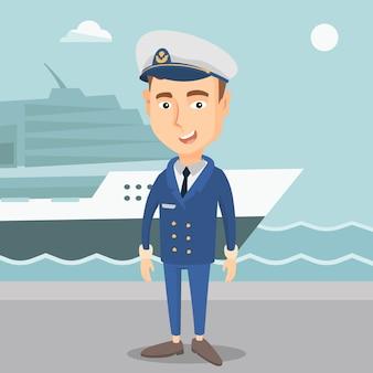 Capitano sorridente della nave in uniforme al porto.