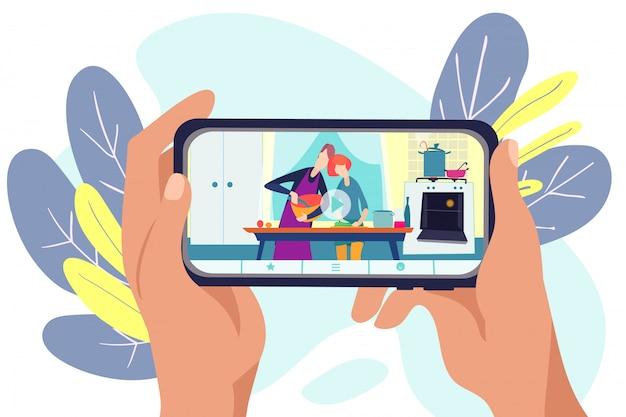 Capo blog in linea in internet, illustrazione. man donna cuoco spettacolo al video vlog, tecnologia di cottura dei personaggi dei blogger. ricetta in cucina sullo schermo, canale professionale.