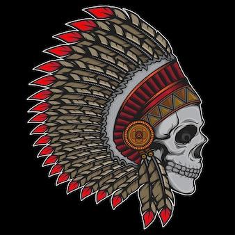 Capo indiano vecchio teschio