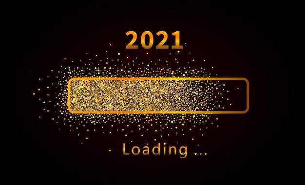 Capodanno 2021 con barra di avanzamento del caricamento brillante e brillante, glitter dorati e scintillii