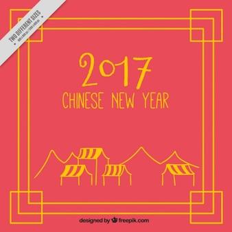 Capodanno cinese 2017, sfondo rosso con telaio