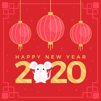 Capodanno cinese in design piatto