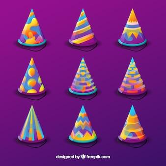 Cappelli per feste di compleanno in colori sfumati