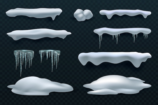 Cappellini da neve e ghiaccioli. decorazioni invernali di vettore di palla di neve e cumulo di neve