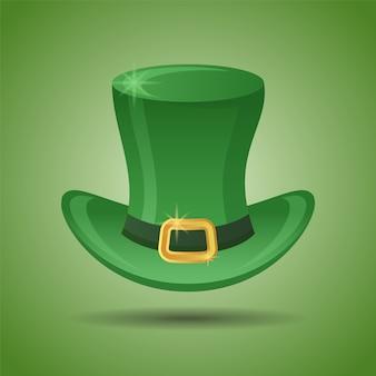 Cappello a cilindro leprechaun verde. elemento del giorno di san patrizio.