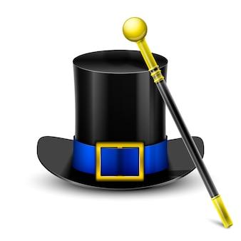 Cappello a cilindro nero con bacchetta