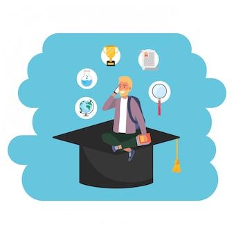 Cappello accademico da studente millenario per l'istruzione online