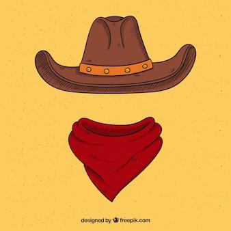 Cappello da cowboy e sciarpa