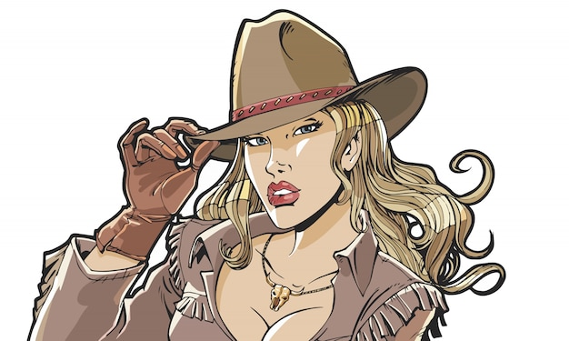 Cappello da cowboy e vestiti della bella ragazza