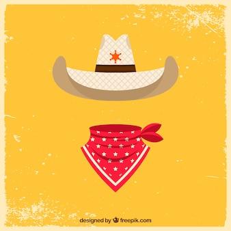 Cappello da cowboy piatto e sciarpa