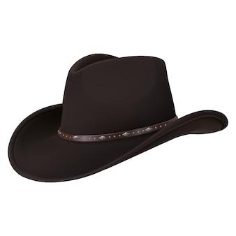 Cappello da cowboy realistico di vettore 3d