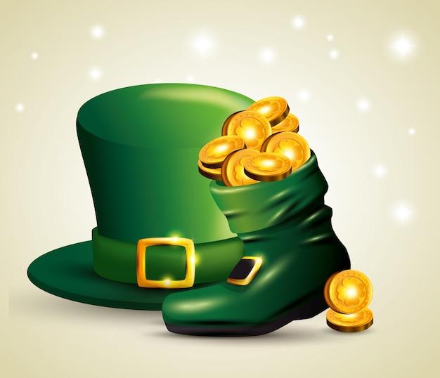 Cappello da giorno di san patrizio con monete all'interno dello stivale