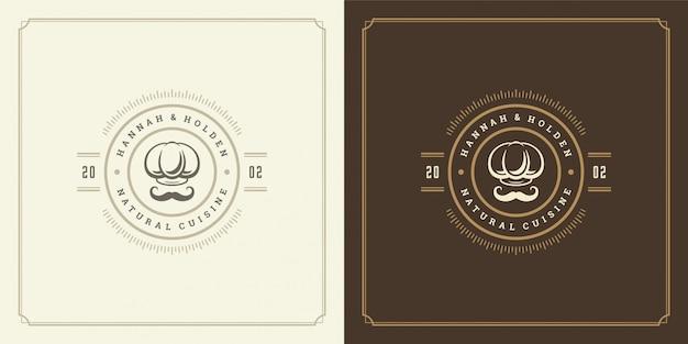 Cappello del cuoco unico dell'illustrazione del modello di logo del ristorante con il simbolo e la decorazione dei baffi buoni per il segno del caffè e del menu.
