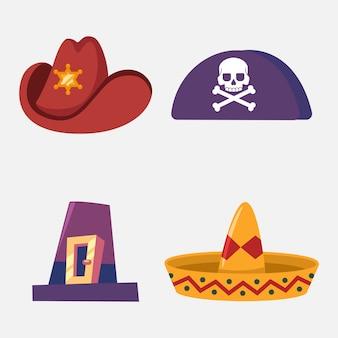 Cappello di cowboy, sombrero, pirata e pellegrino insieme del fumetto isolato su priorità bassa bianca.