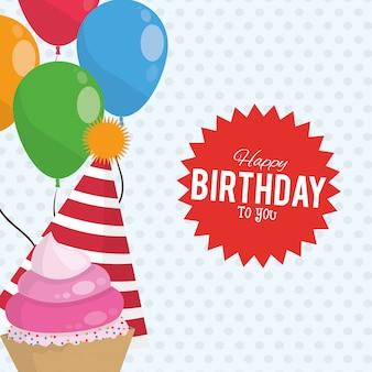 Cappello di palloncini festa buon compleanno celebrazione e dolce cupcake