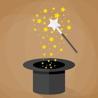 Cappello e bacchetta magici con stelle scintillanti