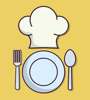 Cappello e piatto da cuoco