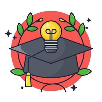 Cappello graduato ed educazione con lampada