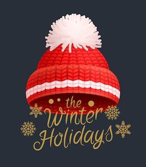Cappello invernale lavorato a maglia rosso con pom-pom bianco