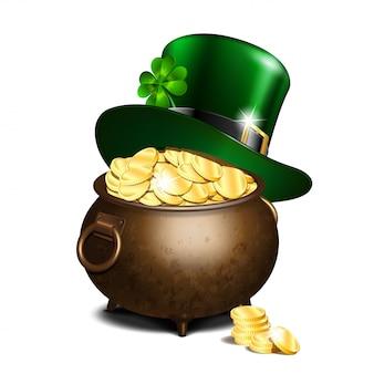 Cappello leprechaun e pentola d'oro