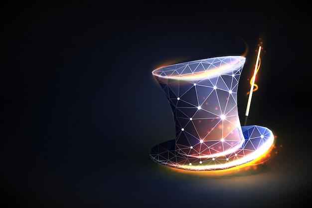 Cappello magico illusionista del concetto o spettacolo.