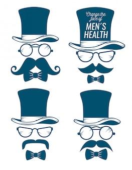 Cappello maschile con occhiali e confezione di baffi