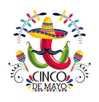 Cappello messicano con peperoncino e maracas all'evento