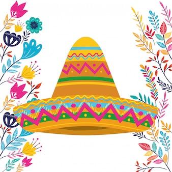 Cappello messicano su bianco