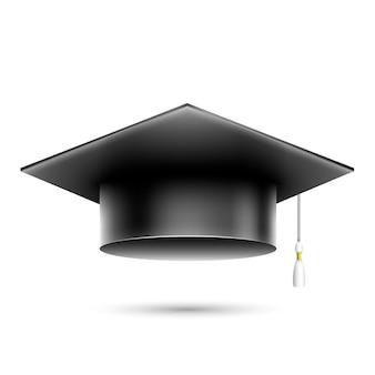 Cappello nero realistico isolato dello studente.